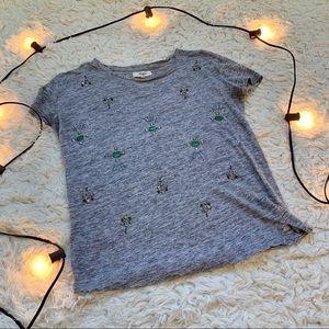 Madewell linen gray embellished jewel tee shirt